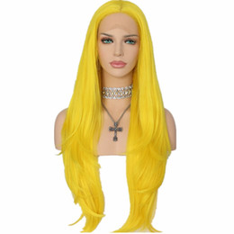 Wholesale Long Straight Black Cosplay Wig - Natural Soft Cosplay Yellow Color Long Silky Straight Lace Front Wig Heat Resistantl Synthetic Hair Glueless Lace Front Wigs for Black Women
