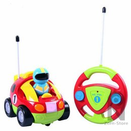 Wholesale R C Lights - Zorn Store-Cartoon R C Race Car Radio Control Toy With light and sound Mini steering wheel remote control car for Toddlers