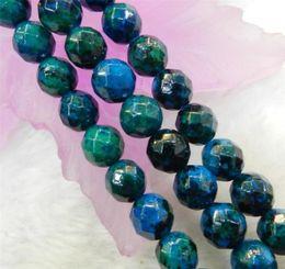 Wholesale Azurite Chrysocolla Beads - 6mm-10mm Faceted Azurite Chrysocolla Gems Round Loose Beads 15