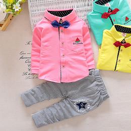 Wholesale Gentleman Style Boy Clothes - New Autumn Spring Baby Boy Clothes Set Top+Pants 2 Pieces Boys Gentleman Suit 3 colors 4 s l