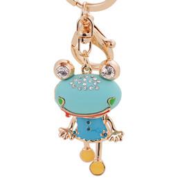 Wholesale Vintage Metal Frog - Vintage Crystal Hollow Frog Keychain Keyring Fashion Rhinestone Animal Metal Key Chain for Women Bag Gift Charms Pendant Jewelry