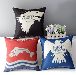 Wholesale Wedding Decorative Sofas - Game of Thrones linen cushion cover Decorative wedding hotels office sofa Throw Pillow Cushion case Home Textiles 17.7x17.7'' free shipping