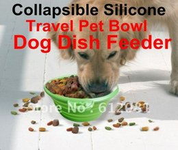 Wholesale Wholesale Metal Dog Bowls - Wholesale-Free shipping,Collapsible Silicone Travel Pet Bowl, Dog Dish Feeder ,metal Clip,non-toxic,durable,1pc for sel