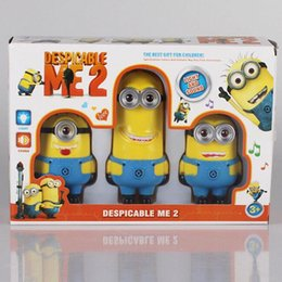 Wholesale Despicable Talking - Christmas gifts Despicable Me 2 Minion Toys Pvc With Music & Sounds Talking Figure And Light Jorge Stewart Dave Minion Toys 3pcs lot