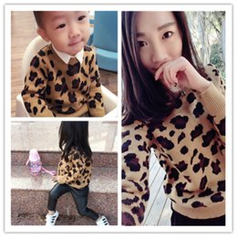 Wholesale Leopard Long Sleeve Sweater Fashion - Girls and Mothers Knitting Leopard Sweat Family 2018 New Autumn Winter Fashion Long Sleeve Family Matching Sweater YAN-820