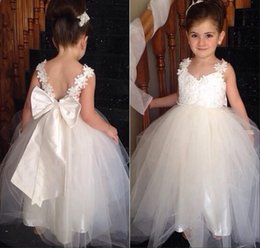 Wholesale Cheap Infant Dresses For Weddings - 2016 Lace Infant Flower Girl Dresses for Wedding Soft Tulle with Satin Bow Belt Princess Long Kids Pageant Party Gowns Custom Cheap