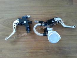"""Wholesale Motorcycle Front Master Cylinder - Motorcycle 7 8"""" CNC Adjustable Clutch Lever & Front Master brake Cylinder w  Fluid Reservoir VFR750 Z750 ZX6R 636 GT250 GV250"""