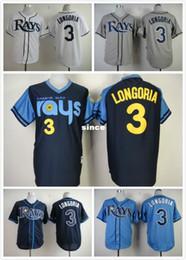 Wholesale New Men Ray - 30 Teams- 2015 New Cheap Stitched Tampa Bay Devil Rays Jersey #3 Evan Longoria Men's Baseball Jersey