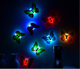 Wholesale Decorated Butterflies - Wholesale-free shipping popular creative colorful butterfly can paste a night light Decorate the butterfly night light Baby bed lamp
