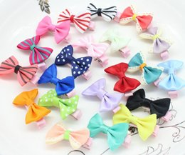 Wholesale Mini Gift Bows - 2015 Promotion 50pcs Mini Hair Bows Girl Hairbow Clips. Tuxedo Barrette alligator Clips for Babies Toddlers Adults free Gift Box