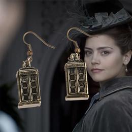 Wholesale Police Box Charm - European movie jewelry Doctor Who police box TARDIS earrings alloy DoctorWho Charm ear cuff statement jewelry for women 170239