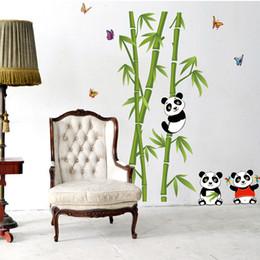 Wholesale Bamboo Wall Murals - Panda Playing around Bamboos Wall Art Mural Decal Cute Panda Bamboo Home Decor PVC Wall Sticker