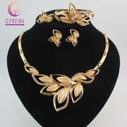 Wholesale dubai jewelry necklace - Women Amazing Charming 18K Gold Plated Crystal African Costume Jewelry Sets Nigerian Dubai wedding Leaves Jewelry Set