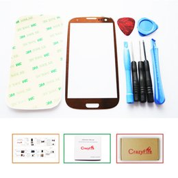 Wholesale Galaxy Lens Kit - Wholesale-Brand New Brown S4 Front Lens Glass Screen Cover for Samsung Galaxy S4 I9500 i337 Touch Screen with Repair Tool Kits Adhesive