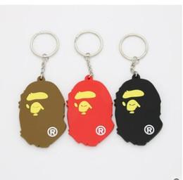 Wholesale Key Ring Print - 3 colours japan keychains big monkey animal key ring men fashion youth logo letter customed printed logo PVC keychain