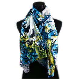 Wholesale Long Scarves White - 1pcs White Women's Fashion Satin Blue Magpie Plum in Flower Oil Painting Long Wrap Shawl Beach Silk Scarf 160X50cm