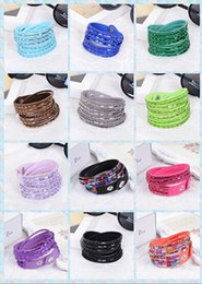 Wholesale Leather Wrap Around Bracelet - fashion Around 2 laps 6 Layer Wrap Bracelets Slake Leather Bracelets for women With Sparkling long Resin drill Couple Jewelry 10pcs