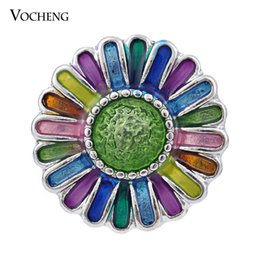 Wholesale Blue Green Paintings - Noosa 18mm Ginger Snap 6 Colors Sunflower Hand Painted Snap Jewelry VOCHENG Vn-884