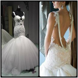 Wholesale Designer Beaded Wedding Gowns - Vintage Lace Mermaid Wedding Dresses 2016 New Designer Sexy Beaded Backless Puffy Tulle Train Bridal Dresses Gown With Appliques Custom