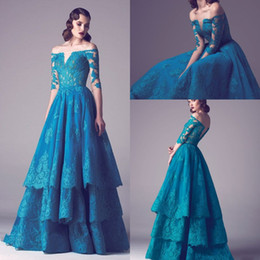 Wholesale Vintage Green Dresses - Off The Shoulder Vintage Green Lace Evening Dresses With Sleeves Multi Layers A Line Appliques Long Floor Length Evening Gowns