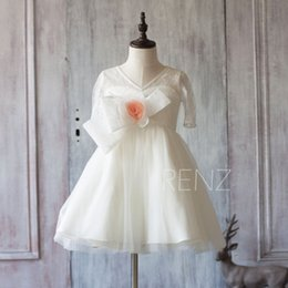 Wholesale Girls Rosette Shorts - 2017 White Junior Bridesmaid Dress, Short Sleeve Flower Girl Dress, a line Rosette dress knee length
