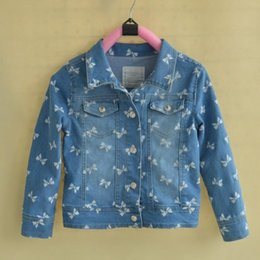 Wholesale Bow Knot Jeans - 2016 Top Fashion Wholesale Girls Autumn Clothing Jeans for Children Jacket 2-7yrs Little Girl's Bow-knot Printed Denim Coat,5pcs lot