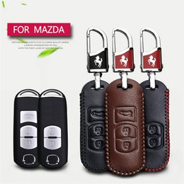 Wholesale Leather Key Fob Covers - Genuine Leather Car Key Remote Case Cover Key Holder Shell Chain Ring For Mazda 3 6 CX5 CX7 323 626 Familia Accessories Key Fob