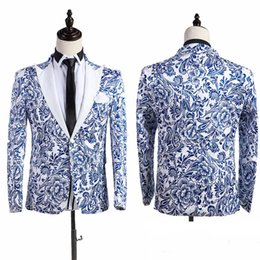 Wholesale Free ship flower porcelain pattern mens bling tuxedo jacket wedding stage performance jacket PLS read our size