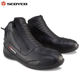 2016 Nueva Auténtica SCOYCO motocicleta botas de invierno botas de cuero cálido caballero montar fuera de la carretera zapatos de color negro tamaño 39-45 desde fabricantes