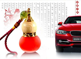 Wholesale Cars Christmas Ornament - Wholesale Refillable Essential Oil perfume bottle Empty Glass Chinese gourd pendant car pendant hanging Ornament + Free Dropper Tool