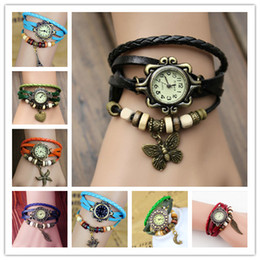 Wholesale Tower Charms - Fashion Weave Leather Charms Watches Women Quartz Wrist Watches Pendants Wing Butterfly Heart Eiffel Tower Starfish Moon Crown Mix Colors