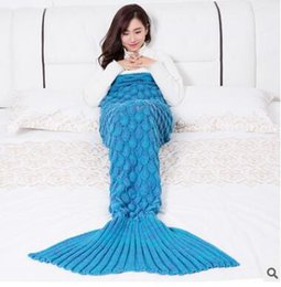 Wholesale Twin Tail - Handmade Yarn Knitted Mermaid Tail Blanket for Adult Kids Throw Bed Wrap Super Soft Crochet Warm Blanket