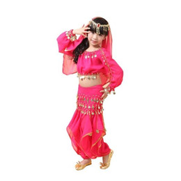 Wholesale Indian Bollywood Dancing - 2015 Kids Girl Belly Dance Costumes 5PCS Top+Pants+Belts+Veil+Bracelet Children Professional Bollywood Indian Dancing Dress Set