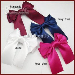 Wholesale Hair Bows Wholesale China - 20PX Big Satin Hair Clip Bows Party Girls Boutique Toddler Hair Accessories