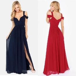 Wholesale Double Shoulder Dress - Elegant Long Formal Dresses Evening Off the Shoulder Double Straps A Line Side Slit Navy Chiffon Special Occasion Women Long Party Dresses