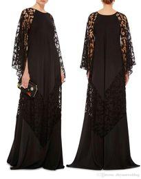 Wholesale Chiffon Kaftans - 2017 plus size black lace arabic caftans evening dresses Dubai Kaftans Abayas muslim evening gowns islamic clothing
