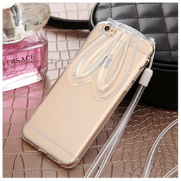 Wholesale Rabbit Iphone 4s - soft tpu ultra thin case clear phone case backcover with rabbit ear as stent for iphone 4 4s 5 s 6 6s 6plus samsung smart phone