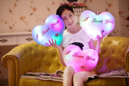 Wholesale Heart Plush Toys - Colorful luminous hold pillow plush toys soft stuffed pillow I LOVE YOU' Valentine's day wholesale and retails birthday gift