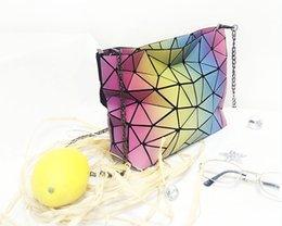 Wholesale Trendy Backpacks For Women - New Trendy Rainbow bags Women Fashion Noctilucent Geometry Bags Famous Brand Evening Women Bag for Party