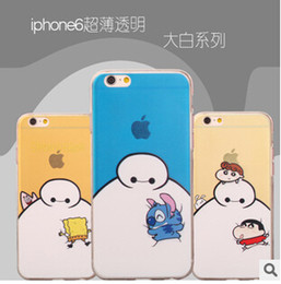 Wholesale Iphone Cartoon Hero Case - 2015 Cute Cartoon Big Hero 6 Six Baymax Body Soft Ultra TPU Ultra-thin Clear Transparent Skin Rubber Case Cover For IPhone 5 5S 6 Plus cases