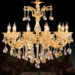 Wholesale Luxury Light Switches - Golden Luxury Crystal Chandelier Lighting European style Candle Pendant Lights 6 8 10 Arm Living room Restaurant Hotel Lighting Fixture