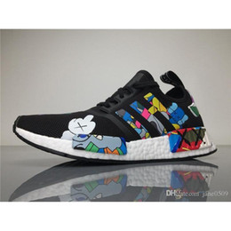 Wholesale Mens Shoes Dhl - DHL Originals KAWS X NMD S31526 R1 Real Boost Running Shoes Womens Mens Kaws NMDS Sneakers Men Athletic Shoes Size 40-45 Boosts BOX