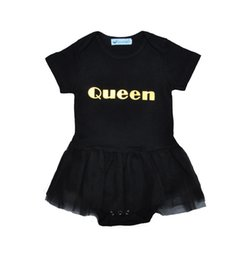 Wholesale Toddler Dance Dresses - Baby Girls ballet dress lace romper Queen metallic printing black short sleeve romper toddlers cute summer outfits dancing clothing for 1-3T
