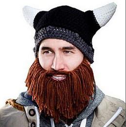 Wholesale Beanie Hat Horns - Hats Beanie Skull Caps Bearded Knitted Hats Vikings Horn Knitted Hat Warmer Ski Bike Skull Hat Unisex Men Children Beard Cap