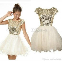 Wholesale Halter Ball Gowns - Hot Bling Luxury Ball Gown Short Mini Homecoming Prom Dresses Formal Sequins Homecoming Gowns Free Shipping Cheap Special Occasion For Girls