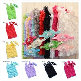 Wholesale Multi Color Petti Rompers - Petti lace ruffle baby Rompers Outfit Princess Crown headband shabby flower Tiara headband baby Rompers flower headband