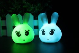 Wholesale Color Changing Led Rabbit Lights - Christmas gift Kids Children Use Color Changing Rabbit LED Night Light Sleep Lamp free shipping TY717