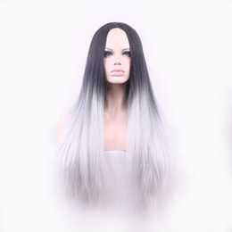 Wholesale Grey Lace Front Wigs - Silk Straight cosplay wigs Synthetic Lace Front Wig Glueless Ombre wig Tone Color Black And Grey Heat Resistant Hair Wigs 80cm