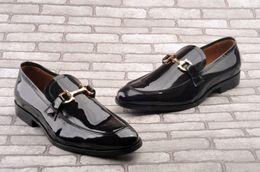 Wholesale Drop Ship High Heels - 2017 Brand new FM fashion men cowhide patent cowhide leather high quality black color mocassins gentlemen loafer size 39-45 drop shipping