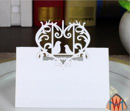 Wholesale White Wedding Place Cards - 100pcs Laser Cut Hollow Heart Love Brid Paper Table Card Number Name Card For Party Wedding Place Card Decorate